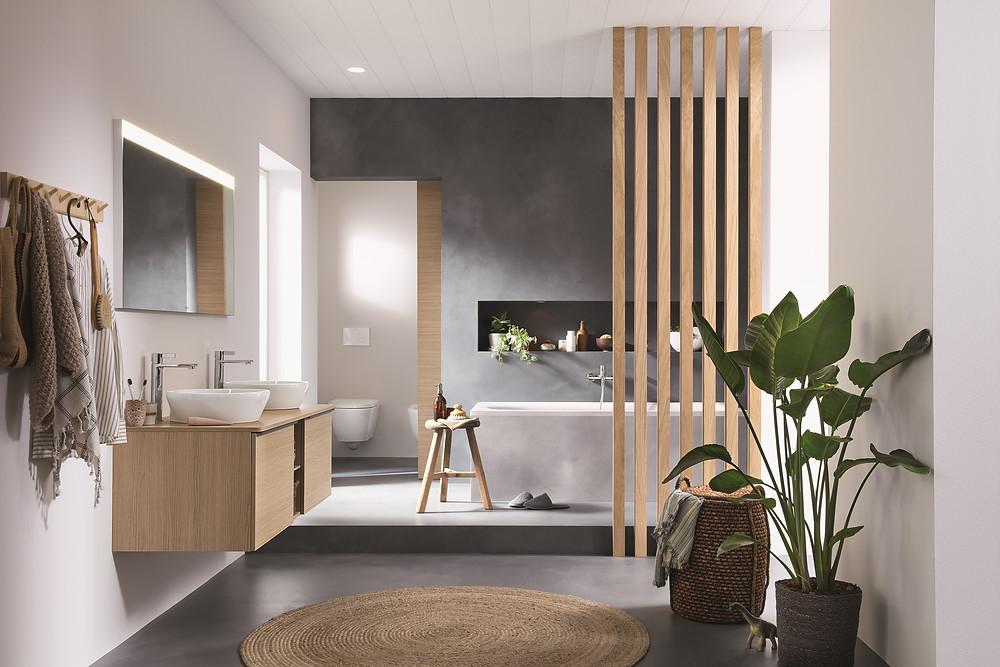 wooden bathroom with bathtub