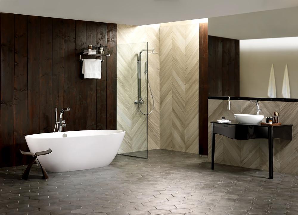 wooden bathroom design with shower and freestanding bathtub