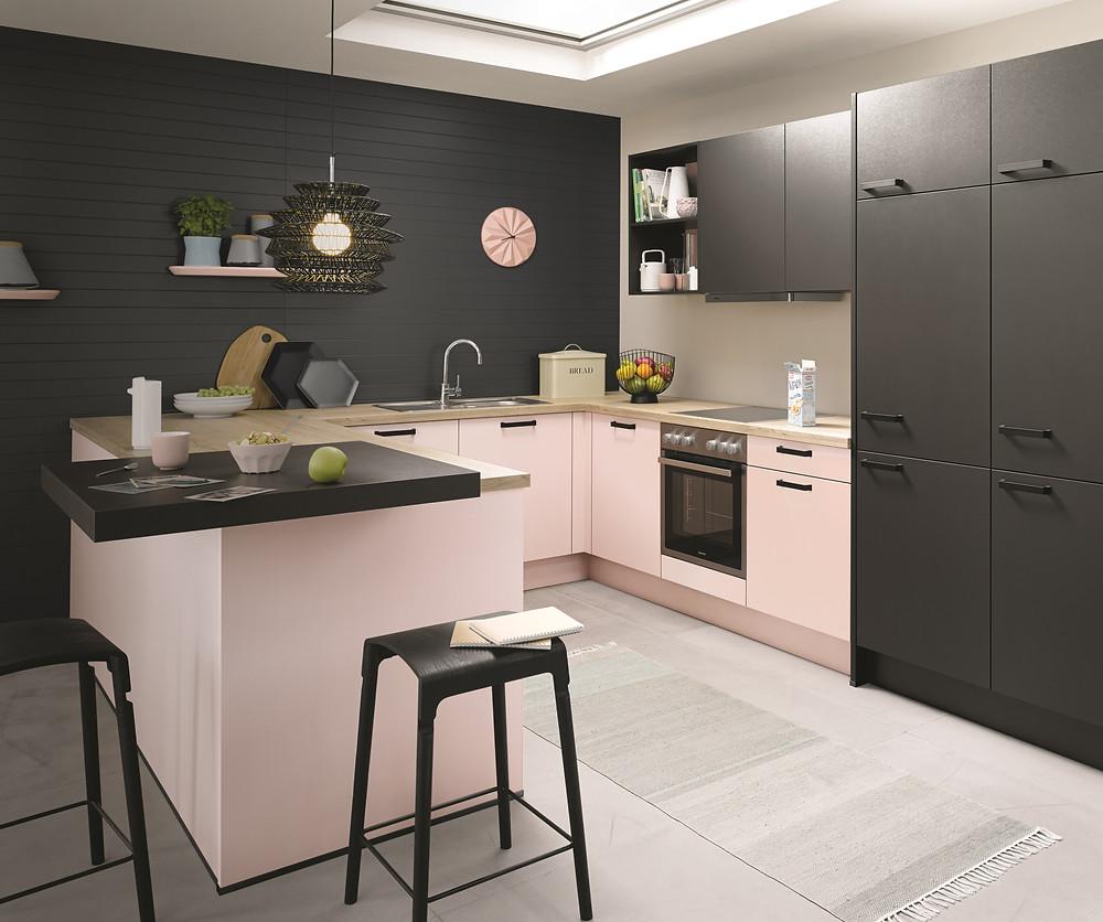 black and pink luxury german kitchen design