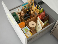 Pull-out with wooden dividers