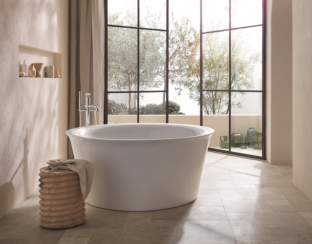 luxury bathroom design with freestanding white bathtub