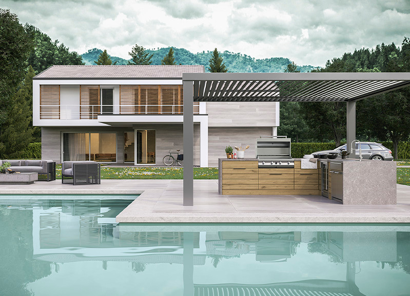 luxury outdoor kitchen design with pool