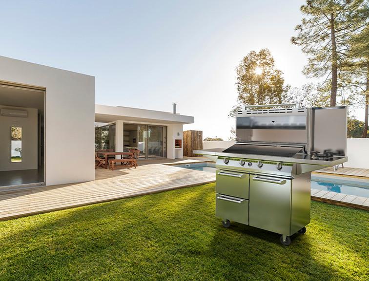 Steel Cucine stainless steel outdoor barbecue in garden