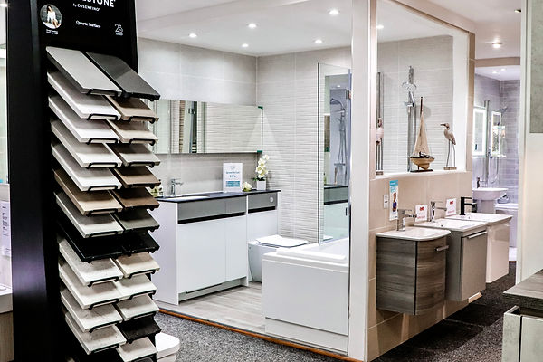 Bathroom & Kitchen Planet showroom with bathrooms and samples