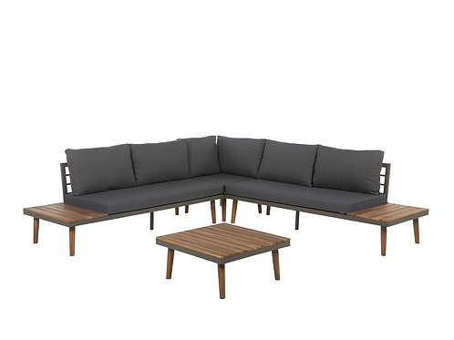 5 Seater Acacia Wood Garden Corner Sofa Set Grey CORATO