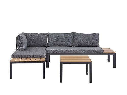 4 Seater Garden Corner Sofa Set Grey and Light Wood PIENZA