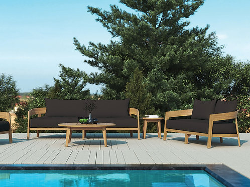 Churchill Lounge Set – Small Teak Sunbrella/Quick Dry