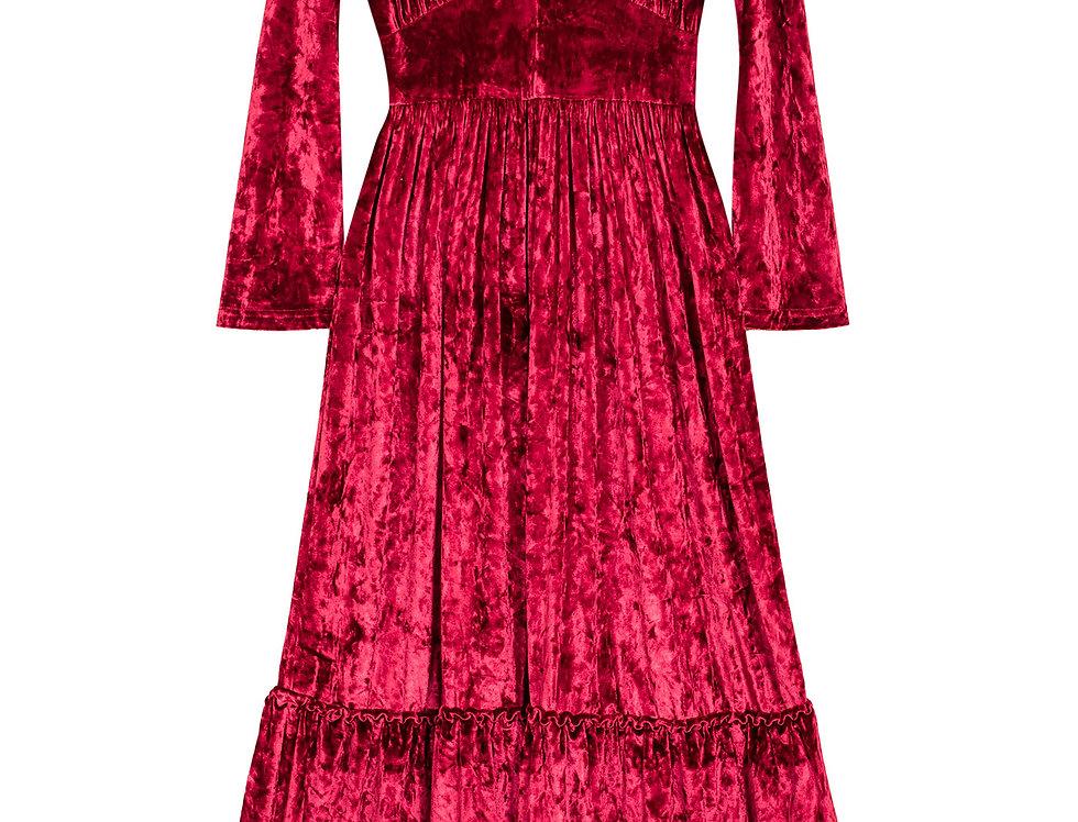 Show Velvet Dress Deep Red