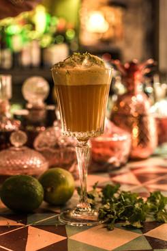 Machupichu Sour Pisco, mango, rocoto, zumo de lima espuma de cilantro