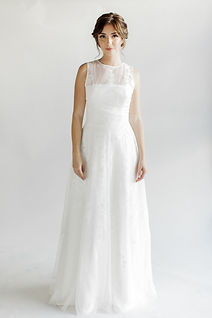Sleeveless lace A-line gown with English net back ties.