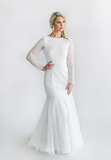 Alençon lace long sleeves mermaid gown with English net skirt and deep scoop back.