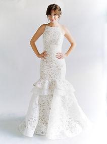 Mock halter fit-to-flare lace gown. Detachable. Alençon lace skirt.