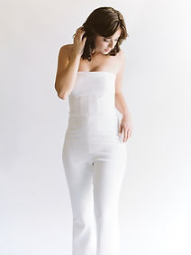 Silk crepe strapless jumpsuit.