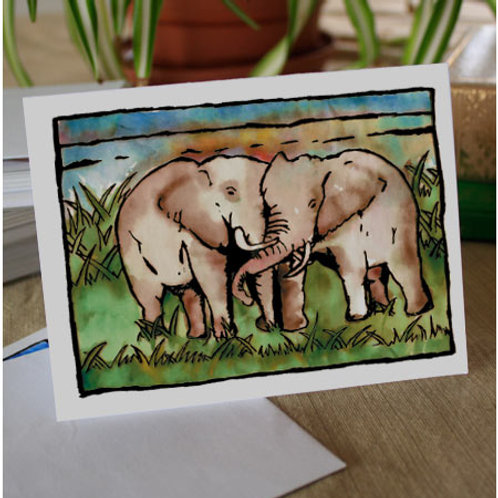 Kissing Elephants | 8 Boxed Note Cards