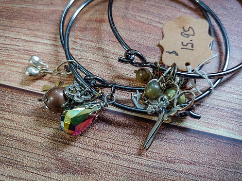Charm   Metal Bangle Bracelets Set