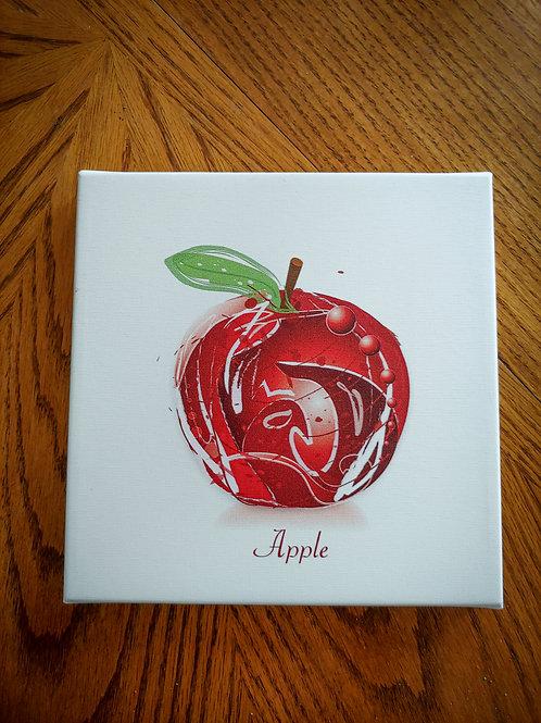 "Apple ""Vector Art"" Series  | 8x8 Canvas Signed Art Print"