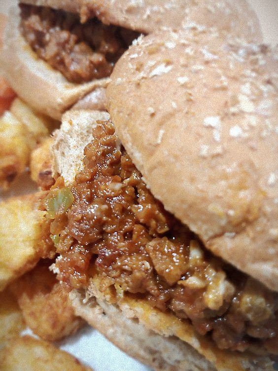 Close up of Vegetarian Sloppy Joe on bun.