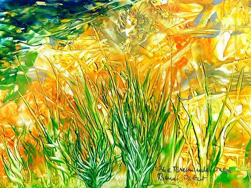 236e Brennender Wald, Original, Landschaftsbild, ca. 21 cm * 30 cm