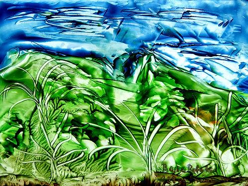 188e Grüne Insel, Original, Landschaftsbild, ca. 21 cm * 30 cm