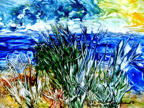 225e Am Meeresstrand2, Original, Landschaftsbild, ca. 21 cm * 30 cm