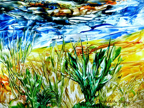 232e Friedliche Natur, Original, Landschaftsbild, ca. 21 cm * 30 cm