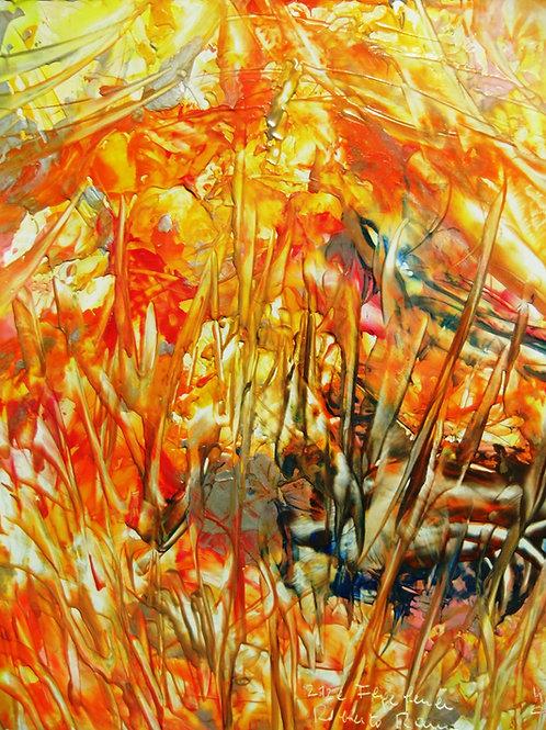 212e Fegefeuer, Druck, abstraktes Bild, ca. 21 cm * 30 cm