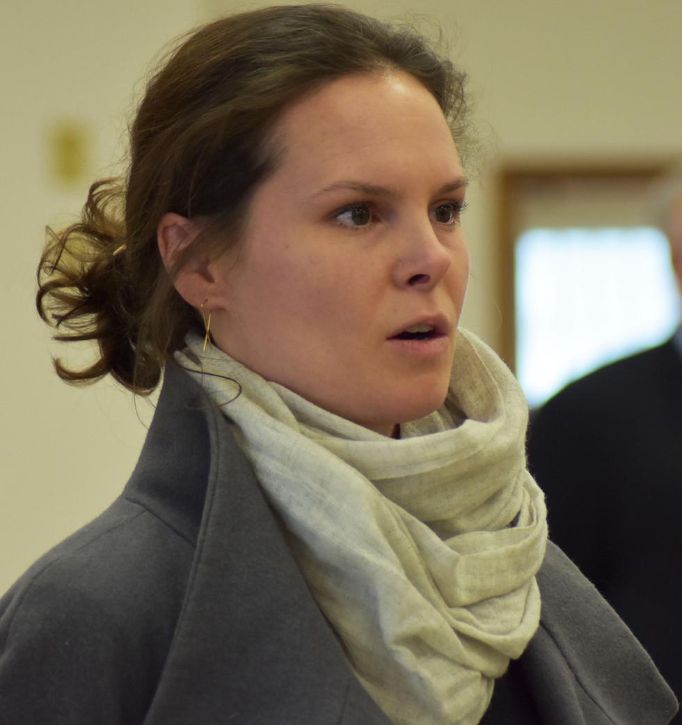 U.S. Congressional Candidate Katie Wilson talks with incumbent