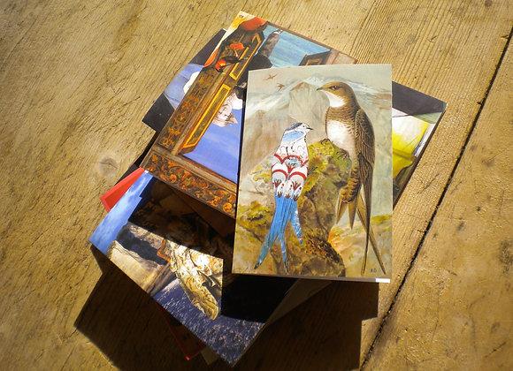 Cartes doubles avec enveloppe . Assortiment de 5