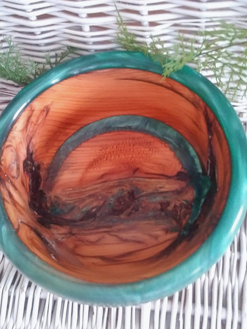 Plum Bowl with Emerald Resin