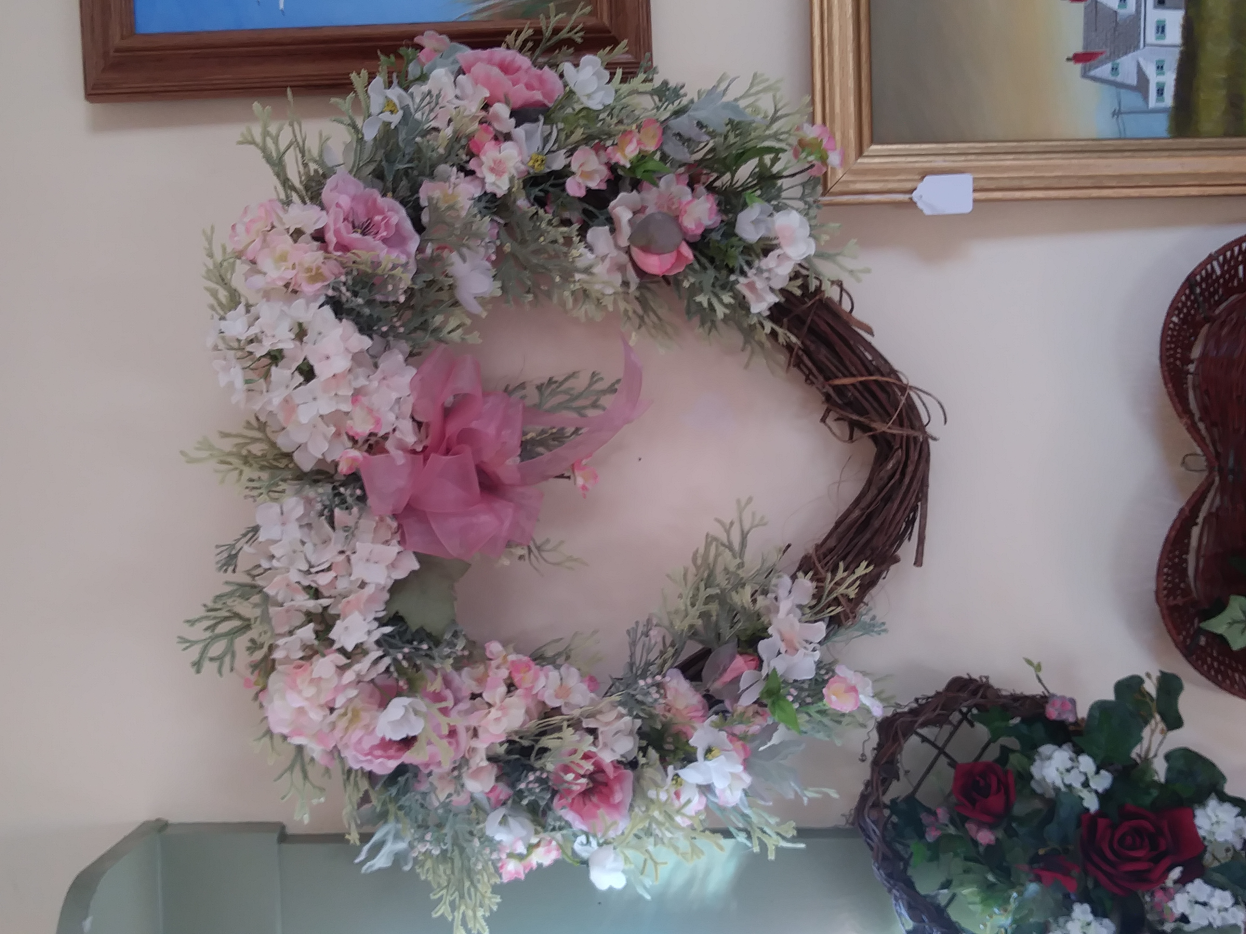 Heart wreath-pink