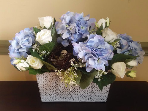 Metal Planter - Hydrangeas & Roses