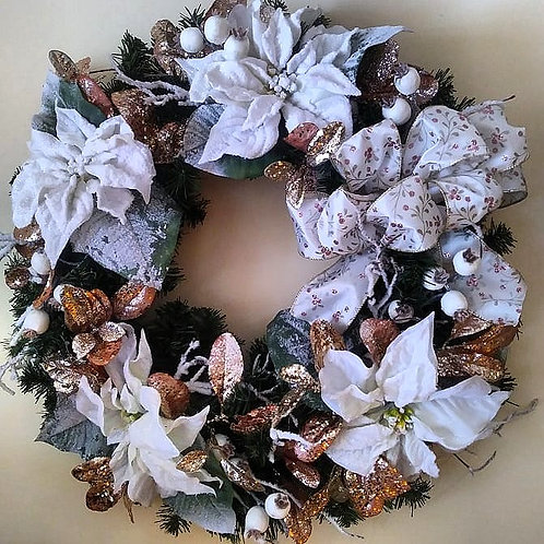 Christmas Wreath - White Poinsettias