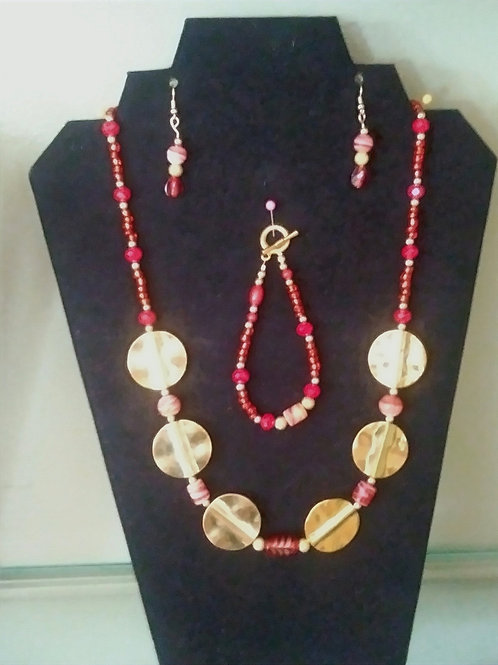 Red & Gold Jewelry Set