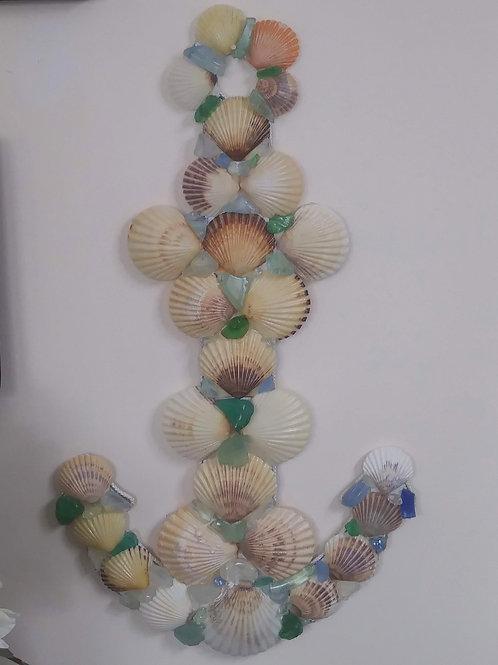 Anchor - Scallop Shells & Sea Glass