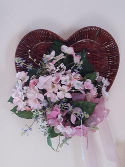 Wall heart - pink hydrangeas