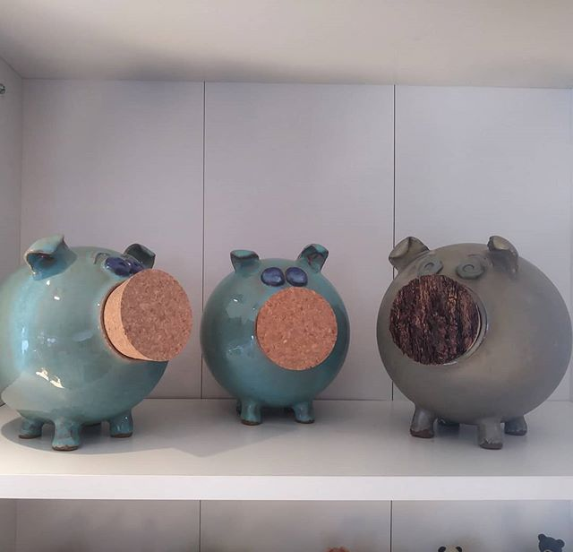 Three little piggy banks by Earth 'n Fir