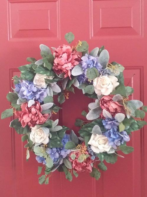Hydrangea / Rose Wreath