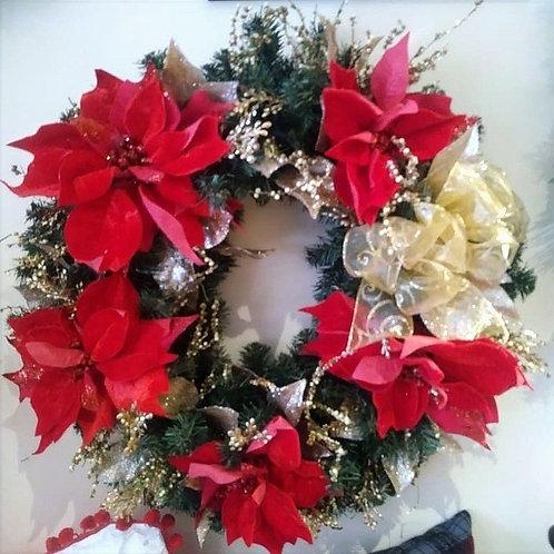 Christmas Wreath - Red Poinsettias