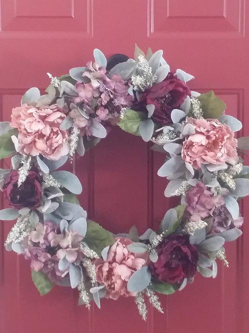 Hydrangea / Peony Wreath