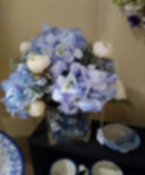 Blue hydrangea centerpiece by Linda Bill