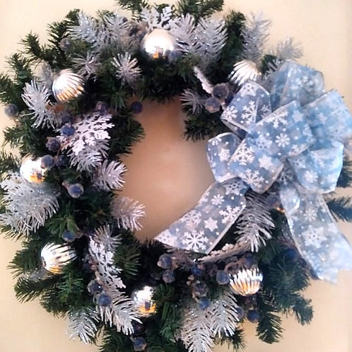 Christmas Wreath - Blue & Silver