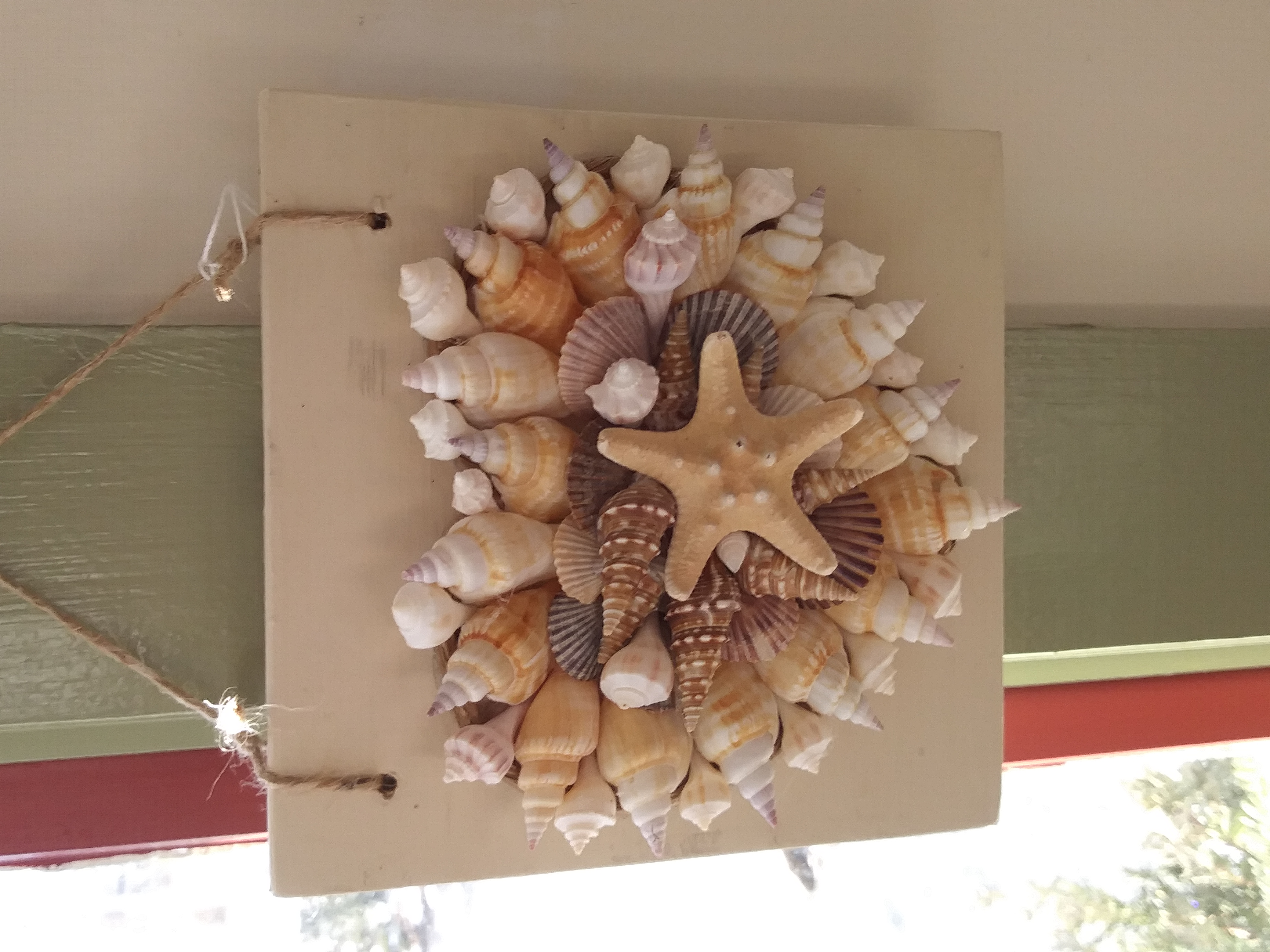 shell heart hanging - cream