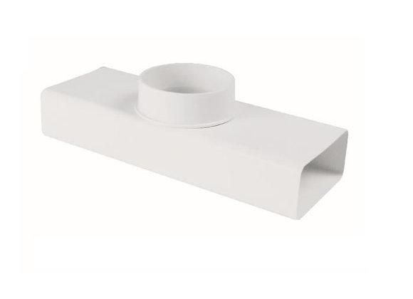 Raccord T rectangulaire rond 55 x 125 mm diam. 100 blanc