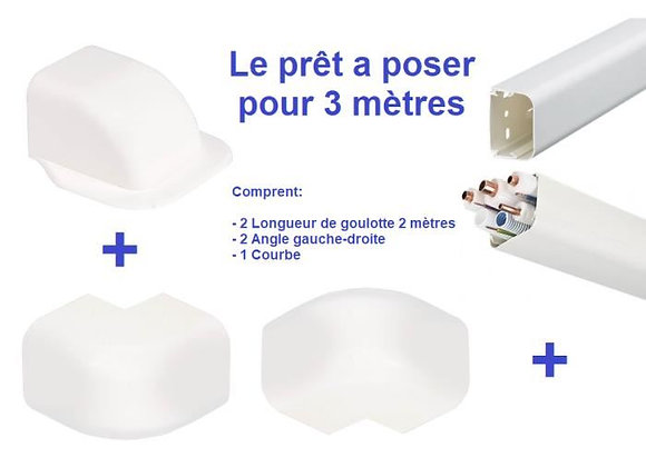 Goulotte plastique climatisation 90 x 65mm Lg 2m kit complet