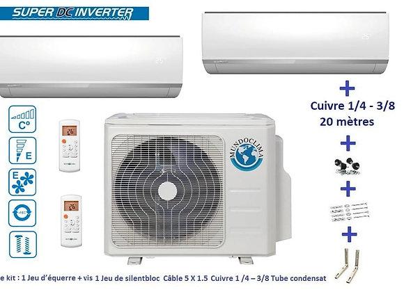 Climatiseur réversible Mundo Clima BI Split 2 x 2.5 kW avec kit 20 mètres