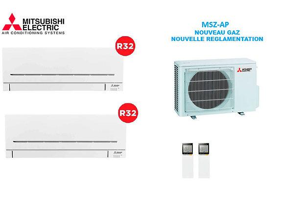 Climatiseur Mitsubishi Electric BI-Split MSZ-AP gaz R32 1 x 2.5 kW 1 x 3.50 kW