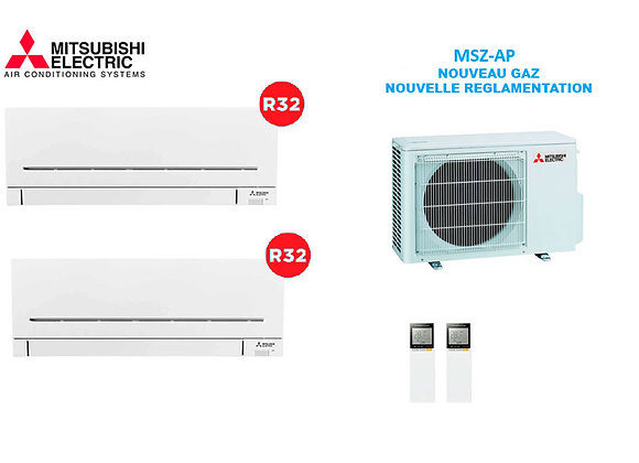 Climatiseur Mitsubishi Electric BI-Split MSZ-AP gaz R32 1 x 1.5 kW 1 x 2.5 kW