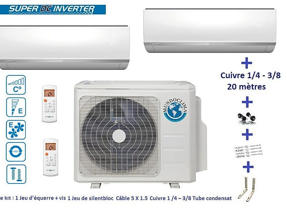 Climatiseur réversible Mundo Clima BI Split 2 x 2.5 kW