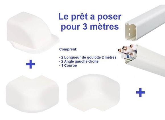 Goulotte plastique climatisation 125 x 75mm Lg 2m kit complet