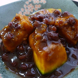 Toji kabocha (Simmered pumpkin and azuki beans served during Winter Solstice)